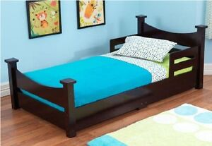 kids toddler bed w side rails children wood bedroom. Black Bedroom Furniture Sets. Home Design Ideas