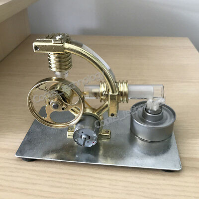 Hot Air Stirling Engine Model Toy w// Micro Motor External Combusion V-Engine Toy