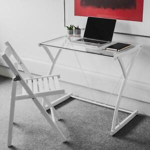 Outstanding Details About Modern Glass Metal Desk Home Office Study Student Small Table Laptop Pc White Download Free Architecture Designs Photstoregrimeyleaguecom