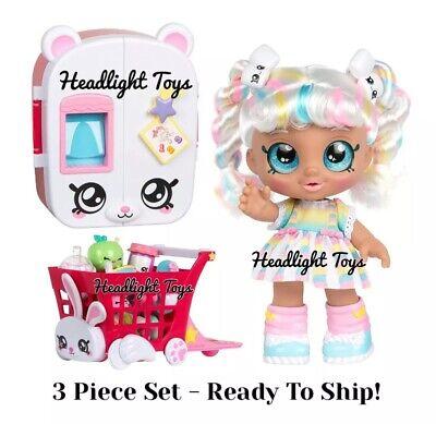 3 Pc Set Kindi Kids MARSHA MELLO Baby Doll Refrigerator Shopping Cart Shopkins