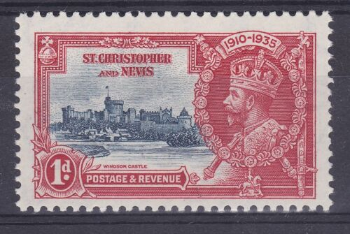DB354 St. Christopher and Nevis 1935 Jubilee 1d deep blue & scarlet SG 61