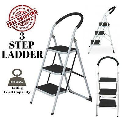 Multi Purpose 3 Step Steps Ladder Domestic Household Office Foldable Steel Frame