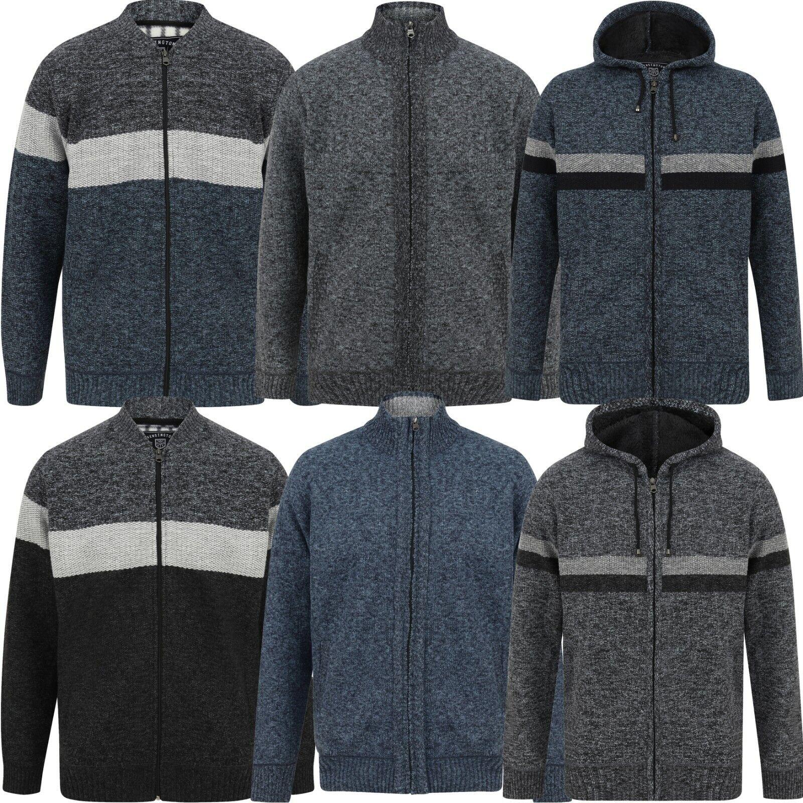 Men's Fleece Lined Jacket Full Zip Jumper Funnel Neck Cardigan & Winter Hoodie