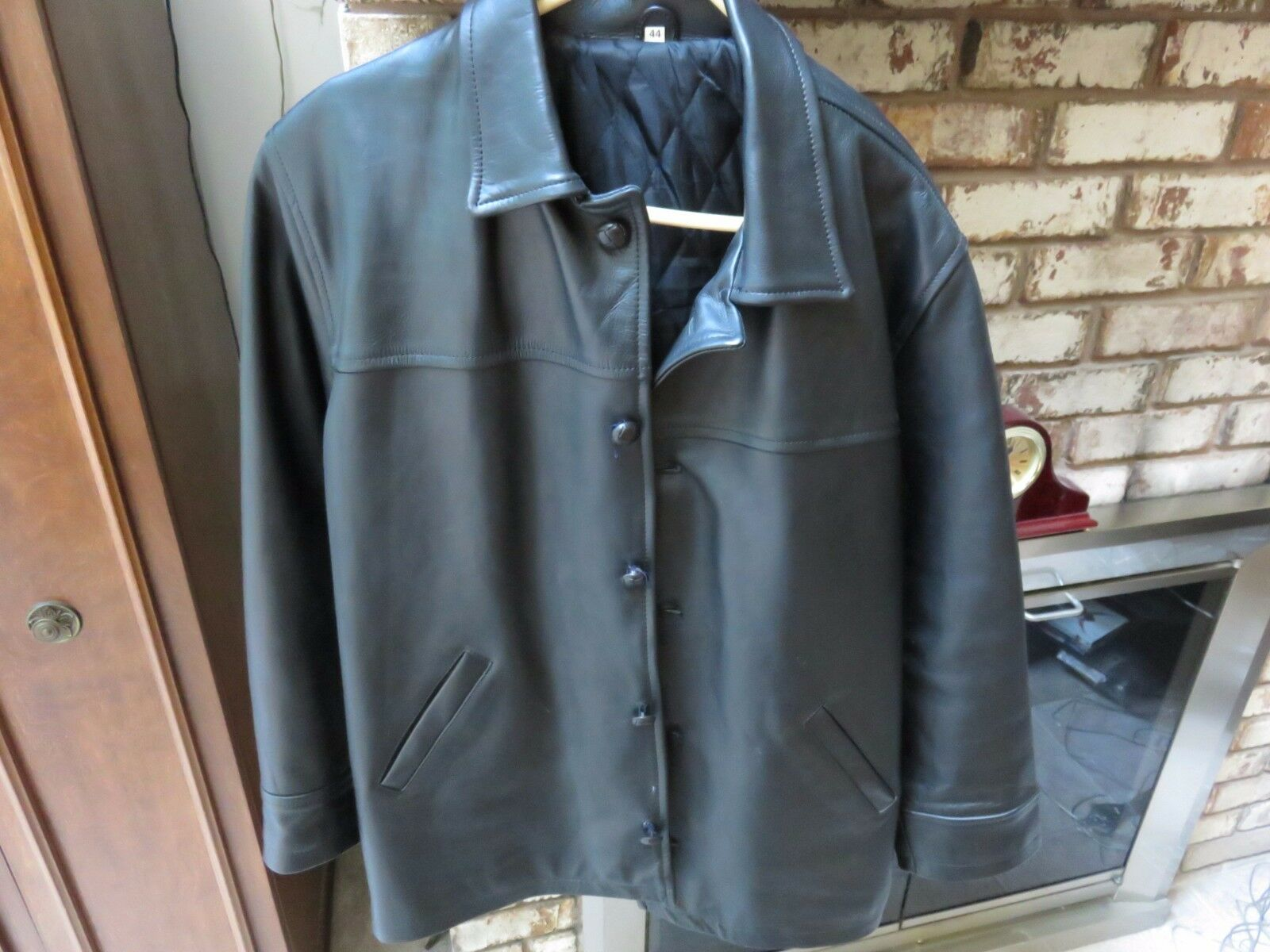 Mens Heavyweight Leather Polyester Lining Coat - Size 44
