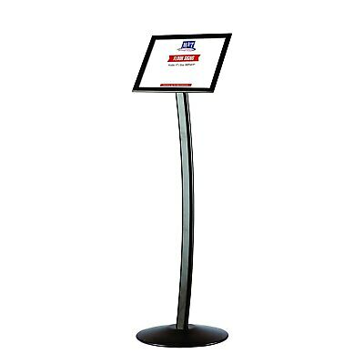 11x17 Curved Menu Sign Stand for Floor with Snap-Open Frame Silver Advertising Display