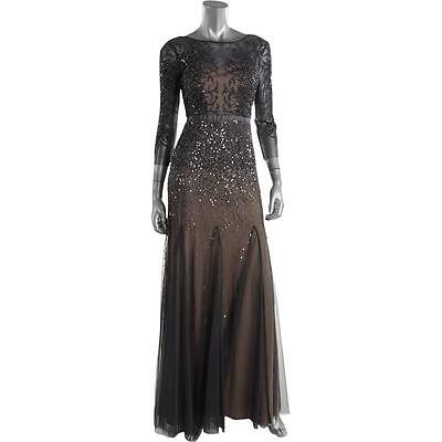 Adrianna Papell 8307 Womens Gray Mesh Sequined Evening Dress Gown 10 BHFO