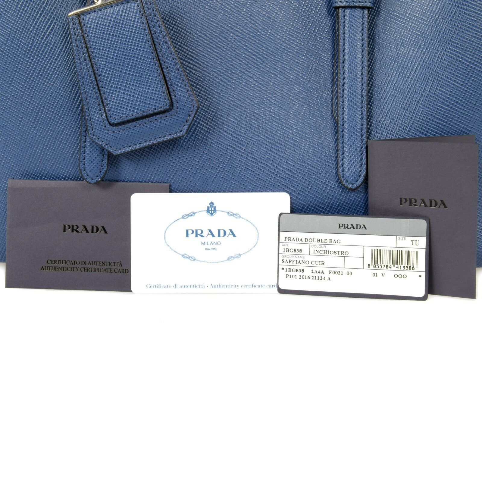 eb1235484ab3 PRADA Double Leather Bag Model 1bg838 F0021 Inchiostro/ink Blue for sale  online | eBay