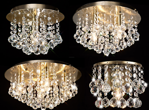 Round Crystal Flush Antique Gold Ceiling 1 4 Or 5 Lights Chandeliers Wall Light Ebay