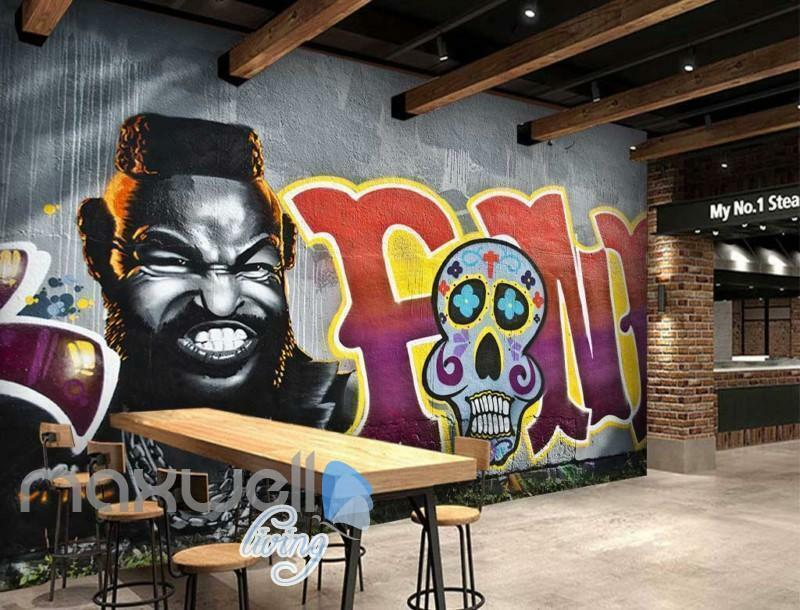 3D Graffiti Sugar Skull Cool Man Art Wall Murals Wallpaper Decals Prints Decor