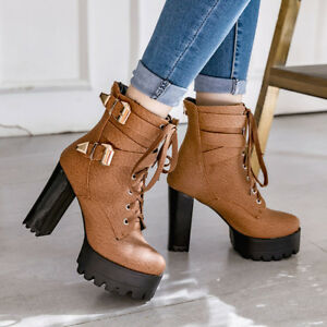 Women-s-Block-High-Heel-Lace-Up-Back-Zip-Platform-Ankle-Boots-Shoes-AU-2-13