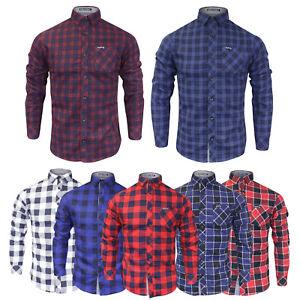 Uomo-Tokyo-Laundry-Motivo-Check-A-Maniche-Lunghe-Cotone-Camicia-Lumberjack-Nuovi-S-XL