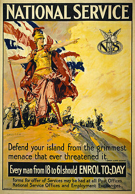 WA58 Vintage WWI British National Service War Poster WW1 A1 A2 A3