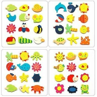 24pc Mixed Style Cute Animal Tree Sun Wooden Fridge Magnet Sticker For Kids Gift