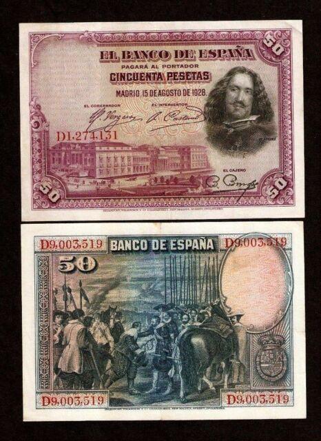 SPAIN 50 PESETAS P75 1928 LOT 10 Bradbury Print NOTE EURO HORSE MUSEUM PAINTING