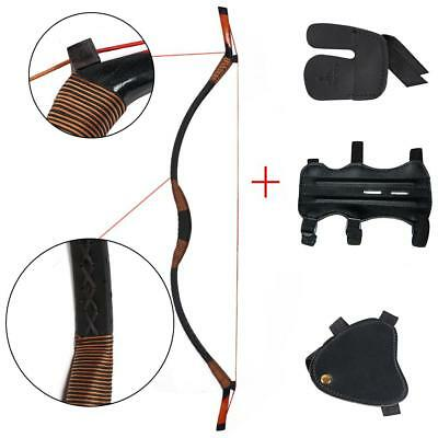 Traditional  Recurve Bow Hunting Longbow 30-50lbs Arm /& Finger /& Hand Guard