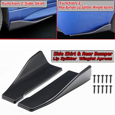 2x Carbon Fiber Look Universal Rear Bumper Lip Splitter Apron Spoiler Side Skirt