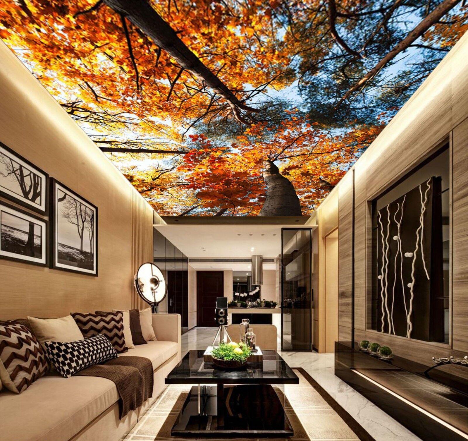 3D Orange Tree Leaf 8 Wall Paper Wall Print Decal Wall Deco AJ WALLPAPER Summer