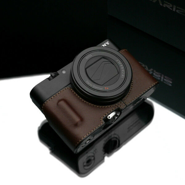 GARIZ Sony RX100M4 Half Case + Gun-Shot Strap Brown For Sony DSC-RX100 IV Case