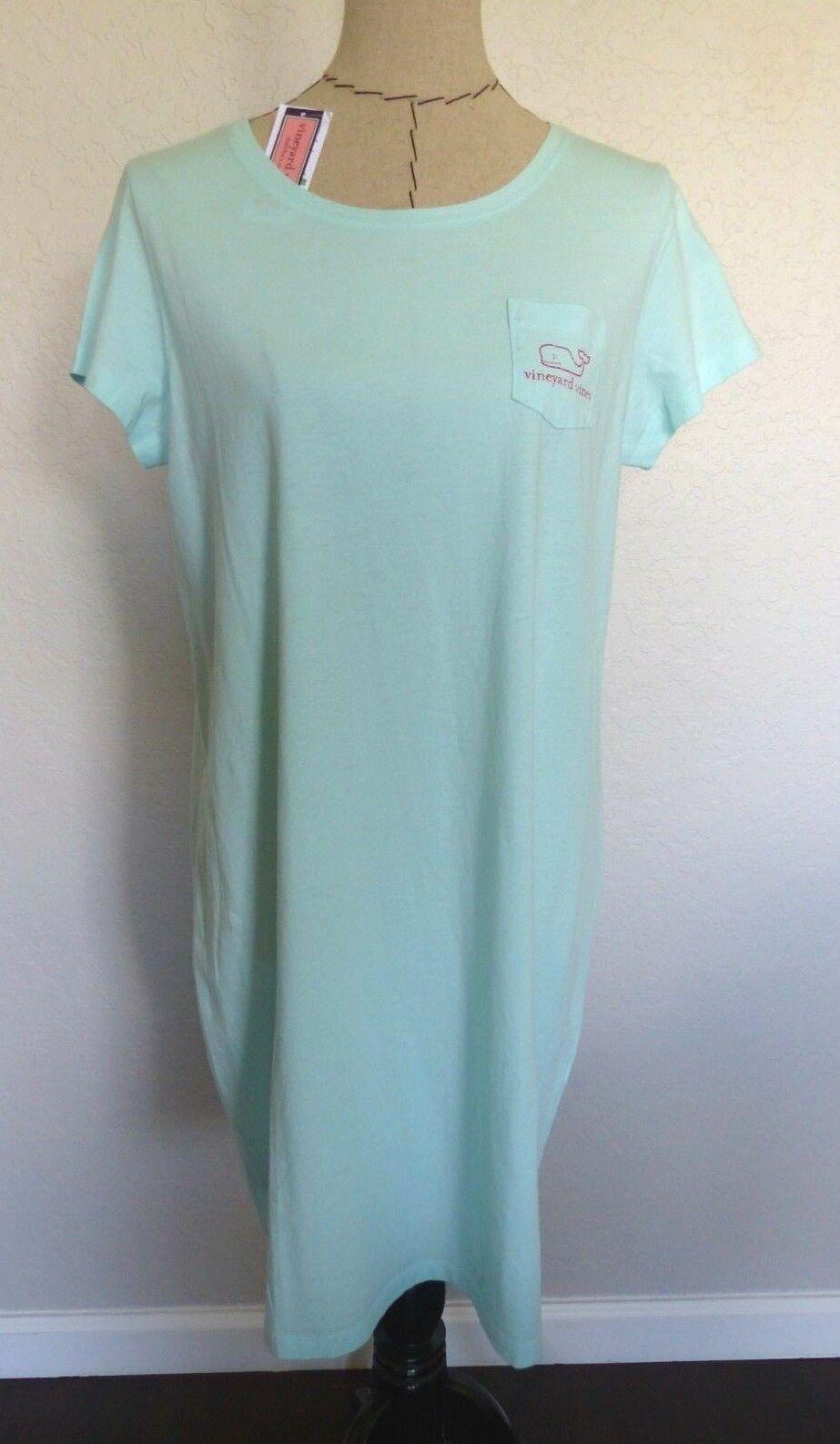 VINEYARD VINES Woherren Short Sleeve Graphic Tee Shirt Dress CRYSTAL Blau LG NWT