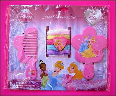 Disney PRINCESS 7 Piece Comb Mirror & HairTies Set New Sealed FREE POST