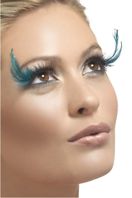 Ladies Long Teal Feather False Eyelashes Burlesque Drag Queen Hen Do Fancy Dress