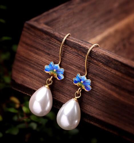 I05 Cloisonne Ohrring Silber 925 vergoldet blaue Pfingstrose Blüte grüne Blätter