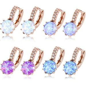 Mother-039-s-Day-Gift-Round-Rainbow-Fire-Opal-Gems-Rose-Gold-Plated-Dangle-Earrings