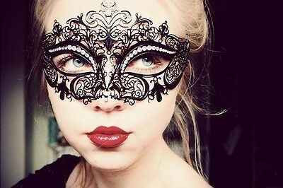 Luxury Black Laser Cut Venetian Masquerade Mask with Sparkling Rhinestones~~