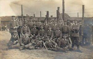 GERMAN-SOLDIERS-WW1-P-O-W-CAMP-BAYONET-WAR-RPPC-ANTIQUE-PHOTO-POSTCARD