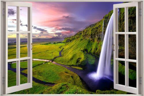 3D Effect Window View Waterfall Nature Mountain Wall Sticker Poster M1-169