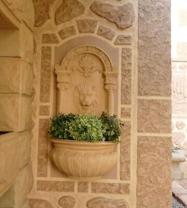 Wand Blumenkasten Brunnen Wanddekoration Pflanzkasten Löwe Figur Speier CA24-b