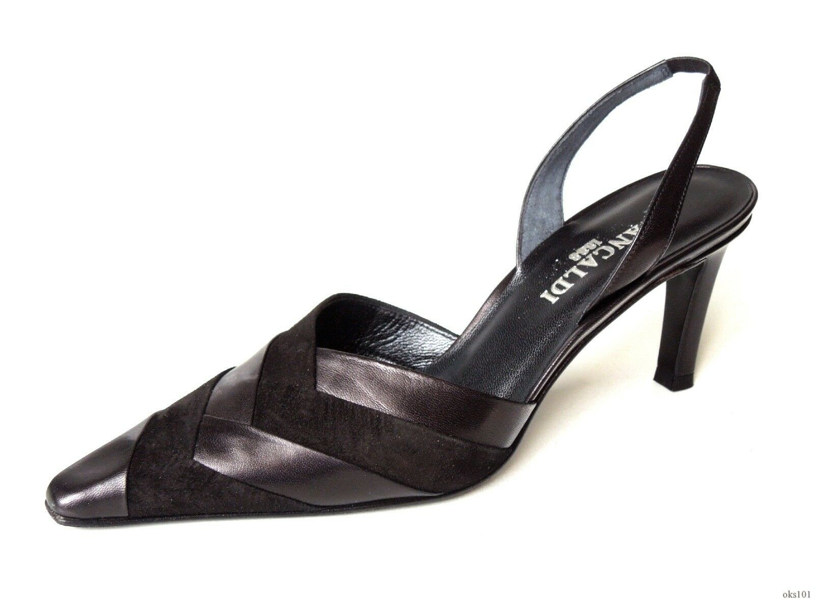 New PANCALDI FR173 black leather suede slingback slingback slingback heels shoes  7 - DRESSY 83610b