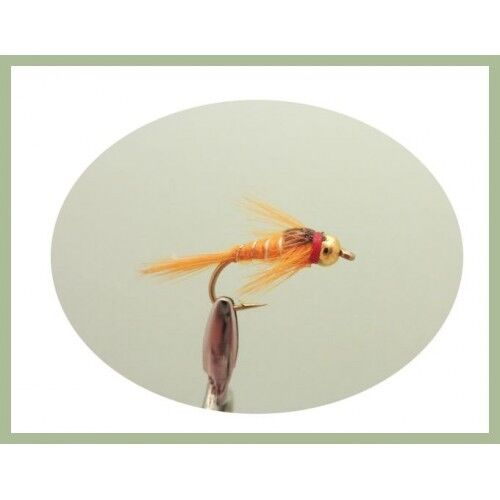 Choice of Sizes 6 Pack Trout Flies Goldhead Orange Silver Ribbed  Nymphs