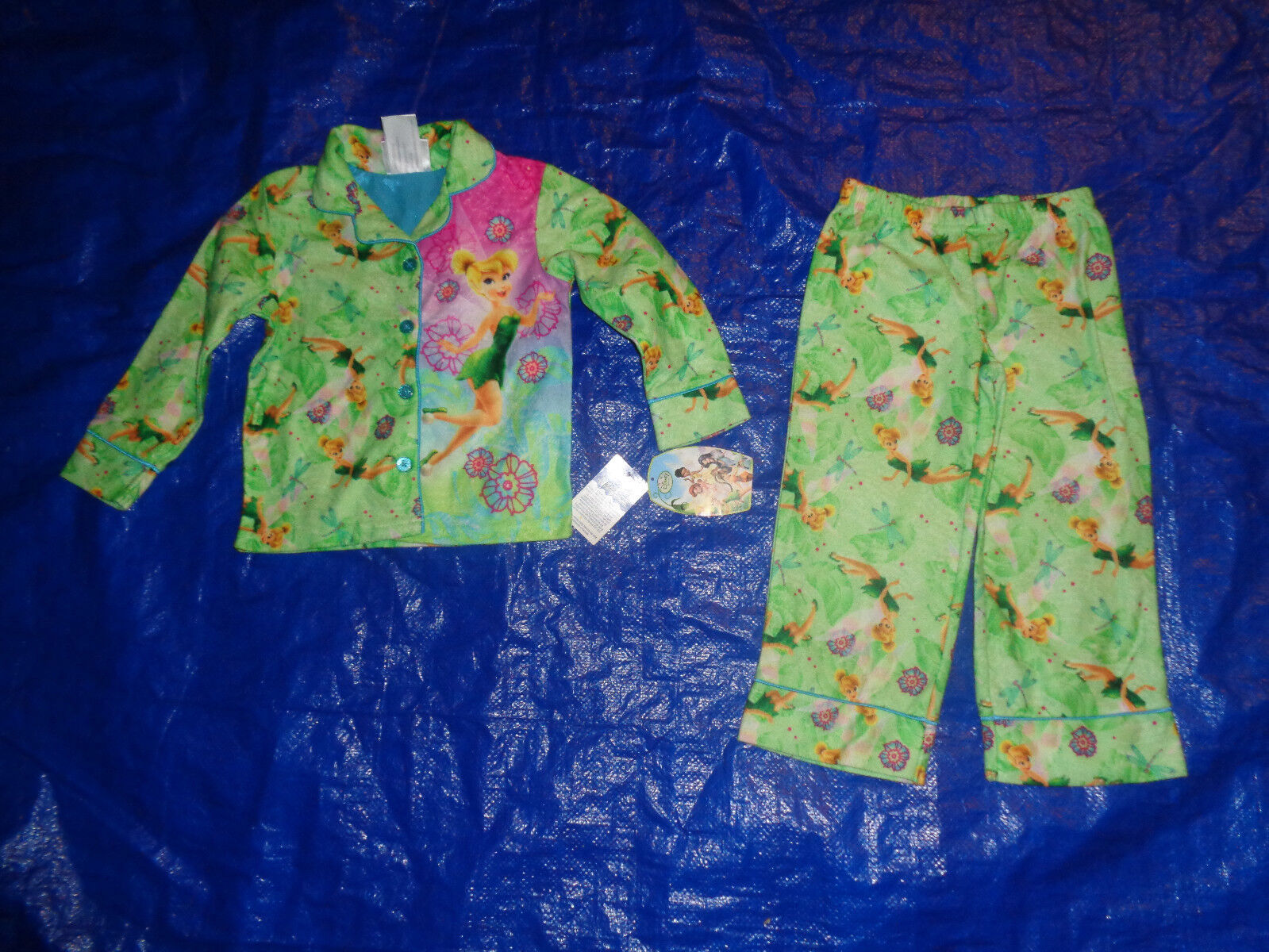 Tinkerbell Tinker Bell Blue Short Pajama PJ 2 Piece Set Girls Size 2T NWT