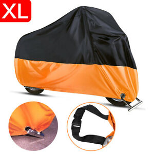 XL Motorcycle Cover Waterproof Indoor Outdoor Rain Dust Heat Protector Black