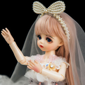 BJD Doll 30cm Gift for Girl DIY Dolls with Clothes Dress Face Makeup Eyes Wigs