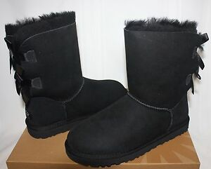 f23afe3b922 Details about UGG Women's Bailey Bow Black Suede 1002954 New With Box!