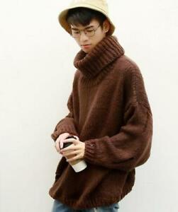 Details about Men's High Neck Pullover Oversize Sweater Loose Turtleneck Knitted Pullover Tops