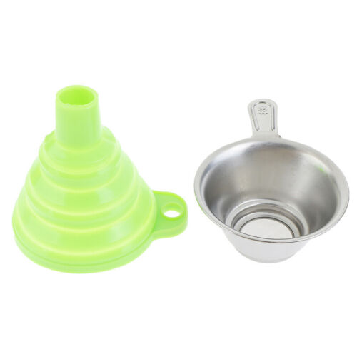 2Pcs//Set Metal Resin Filter Cup+Silicon Funnel Collapsible Telescopic Oil Fun dn