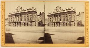 Italia Torino Palais Madame c1870 Foto Stereo Albumina Vintage
