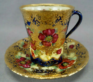 Nippon-Hand-Painted-Red-Poppies-Cobalt-Heavy-Gold-Beaded-Chocolate-Cup-amp-Saucer