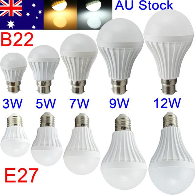 AU E27 B22 Bayonet 5/7/9/12W LED Energy Saving Globe Light Lamp Bulb AC220V-240V
