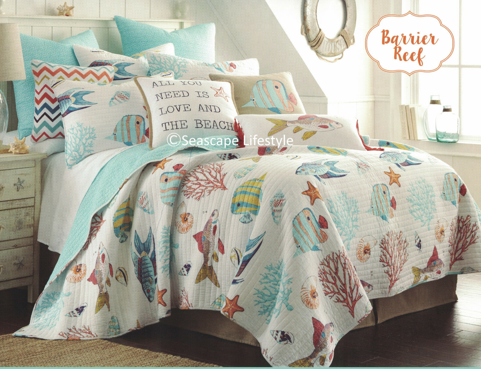 COLORFUL TROPICAL FISH   Full Queen Quilt Seashells Starfish Coral Beach House