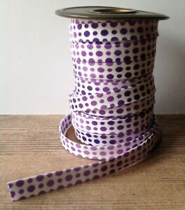 Handmade 1//2 Double Fold Bias Tape *White with turquoise dots*.