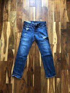 Para Hombre Abercrombie And Fitch Denim Rollins Tiro Bajo Jeans Ajustados Pantalones Vaqueros Con Aspecto Envejecido Ebay