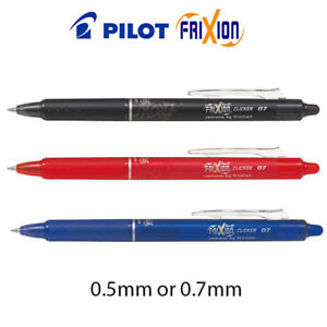 Pilot-FriXion-CLICKER-Erasable-Rollerball-Pen-0-7mm-0-5mm-Black-Blue-Red