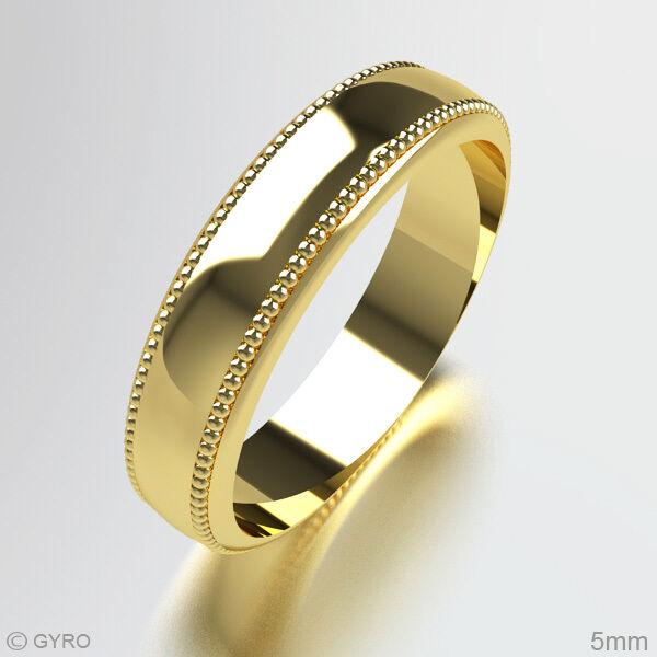 Millgrain Patterned Wedding Ring 9 9 9 CARATI oro GIALLO FASCIA Pesanti Tutte le Taglie e le larghezze 9d1583