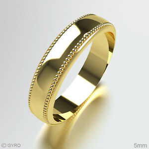 Millgrain-Patterned-Wedding-Ring-9ct-Yellow-Gold-Band-Heavy-All-Sizes-and-Widths
