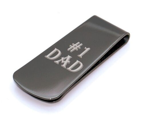 Fathers Day Gift Quality Stainless Steel #1 Dad Money Clip