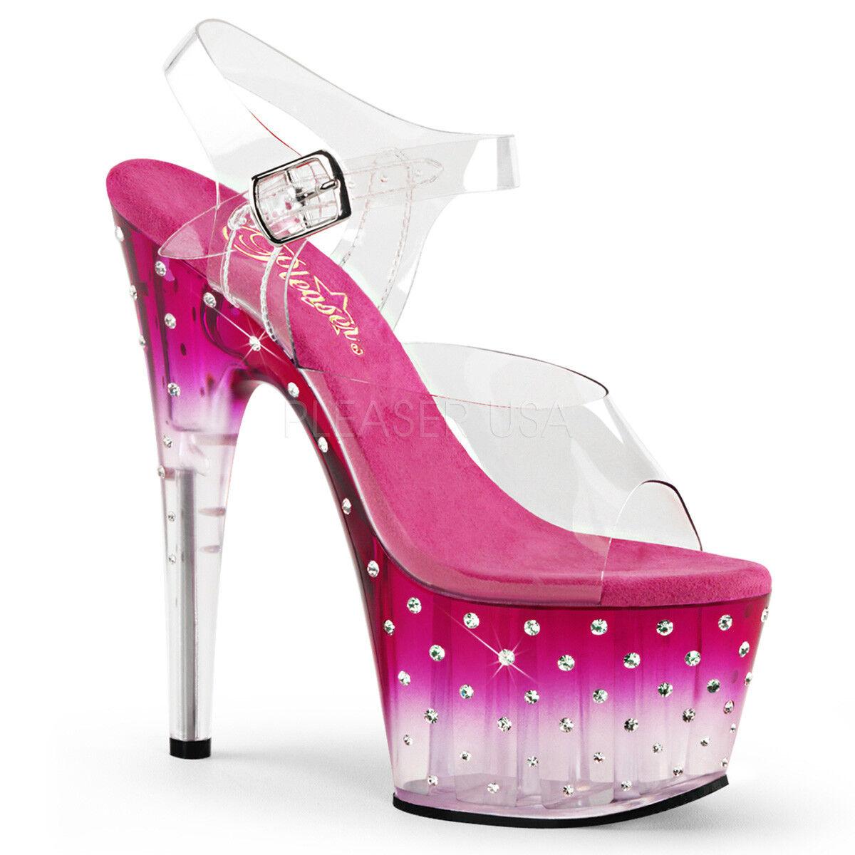 Pleaser STARDUST-708T Women's Clear Pink Rhinestones Heel Platform Strap Sandals